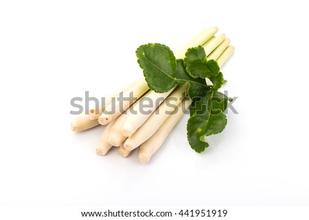 Bergamot leaves and lemon grass. isolate on white background