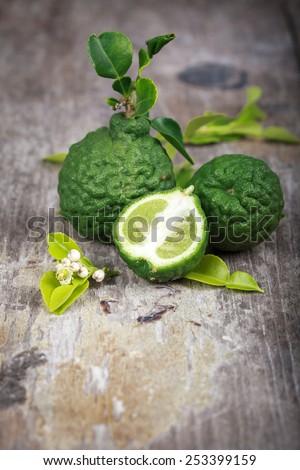 bergamot on wood background - stock photo