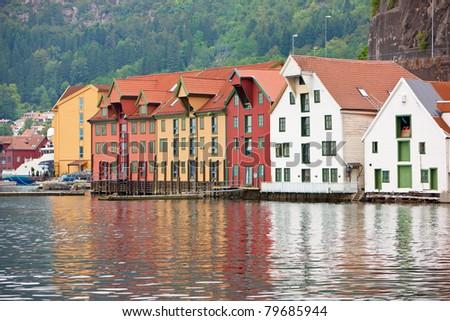 Bergen city coastline view from Fish market side - stock photo