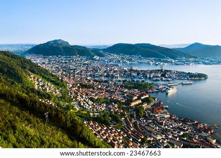 Bergen city in Norway - stock photo