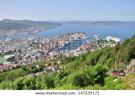 Bergen city in Norway, panoramic view - stock photo