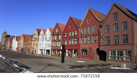 Bergen harbor - gate to the fjord. Norway - stock photo
