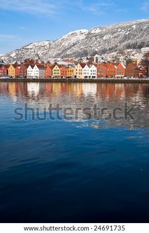 Bergen in winter surroundings - stock photo