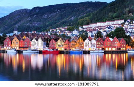 Bergen Night Scenery, Norway - stock photo