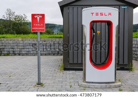 BERGEN/NORWAY - August 25, 2016: Modern Tesla electric car Supercharger station in Bergen.