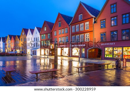 BERGEN, NORWAY - JULY 11: The Bryggen Hanseatic Wharf at night, a UNESCO World Heritage site with shops, hotels, and restaurants on July 11, 2015, in Bergen, Norway.