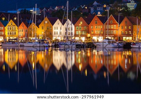 BERGEN, NORWAY - JULY 11: The famous Bryggen Hanseatic wharf houses at night, a UNESCO World Heritage site on July 11, 2015, in Bergen, Norway. - stock photo