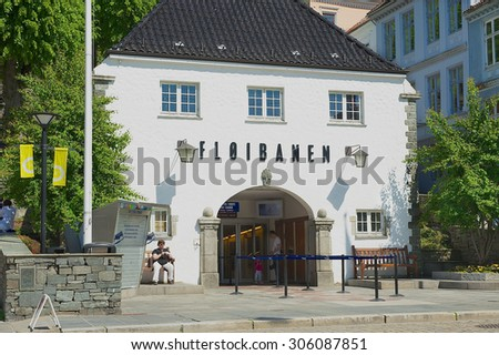 BERGEN, NORWAY - JUNE 06, 2010: Exterior of the Floyen funicular lower station building in Bergen, Norway.