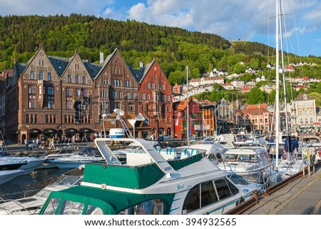Bergen, Norway, May, 2008: Boats at the quay in the city of Bergen, Norway