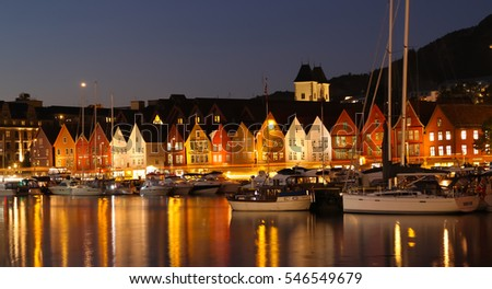 Bergen, Norway - October 6, 2016: Historic Hanseatic houses on the harbor of Bergen, Norway in Scandinavia in late evening light