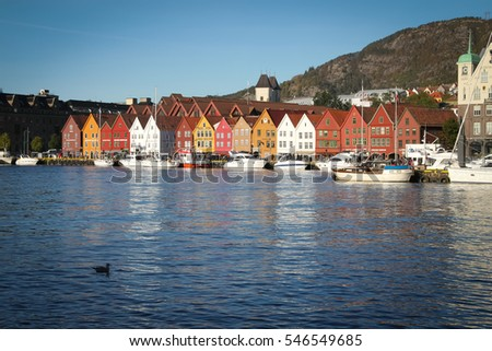 Bergen, Norway - October 6, 2016: Historic Hanseatic houses on the harbor of Bergen, Norway in Scandinavia during the daytime under sunny skies