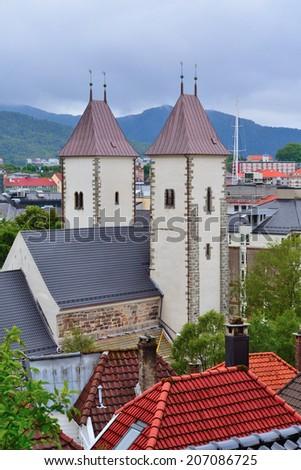 Bergen, Norway. View of the city and the church of St. Mary
