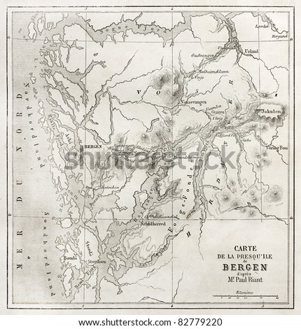 Bergen peninsula old map. Created by Vuillemin and Erhard, published on Le Tour du Monde, Paris, 1860 - stock photo