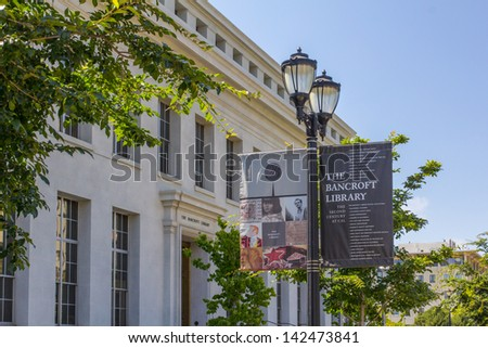BERKELEY, CA/USA - JUNE 15: Bancroft Library on the University of California at Berkeley consists of a collection of 50,000 volumes of historic American materials. June 15, 2013. - stock photo