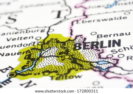 Berlin, a close up shot of capital of Germany on map. - stock photo