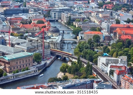 Berlin aerial view - capital city of Germany. River Spree and Museum Island. - stock photo