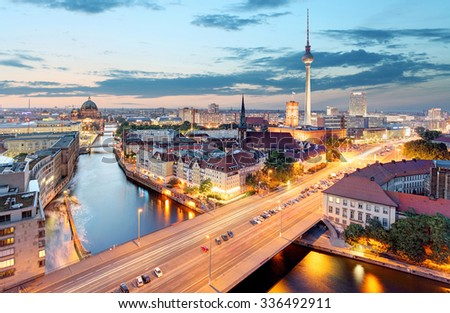 Berlin. Aerial view of Berlin during beautiful sunset. - stock photo