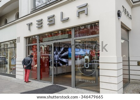BERLIN - APRIL 14: Entrance of the Tesla Store on Kurfuerstendamm. Tesla motors is a carmaker of electric cars. April 14, 2015, Berlin, Germany - stock photo