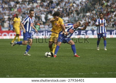 BERLIN - APRIL 4: Hertha BSC player Patrick Ebert is fighting for the ball with BVB player Nelson Valdez on April 4, 2009 in Berlin, Germany.