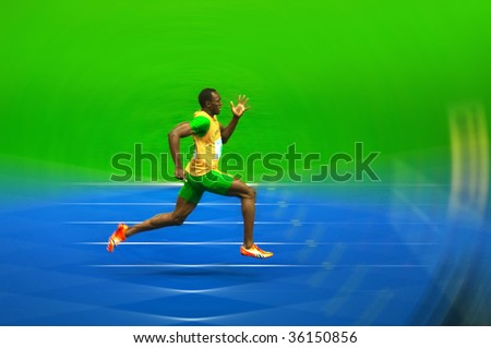 BERLIN  - AUGUST 20: Asian Bolt of Jamajca in the 12th IAAF World Championships in Athletics. August 20, 2009 in Berlin, Germany. - stock photo