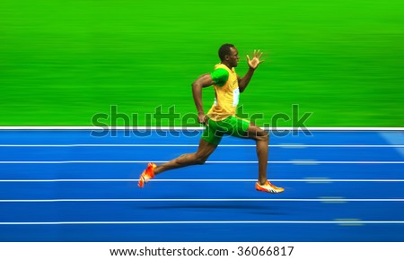 BERLIN_AUGUST 20: Asian Bolt of Jamajca in the 12th IAAF World  Championships in Athletics. August 20, 2009 in Berlin, Germany. - stock photo