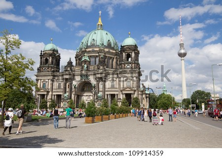 BERLIN, AUGUST 6: Berliner Dom,or Berlin Cathedral on August 6, 2012. It was built between 1895 and 1905. The current building replaced in 1894. - stock photo