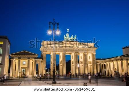 Berlin - AUGUST 4, 2013: Brandenburg Gate on August 4 in Germany - stock photo