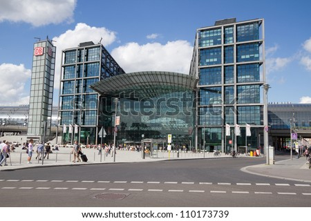 BERLIN, AUGUST 6: Central train station in Berlin, Germany on August 6, 2012.  It is located on the site of the historic Lehrter Bahnhof. It is opened on 26 May 2006. - stock photo