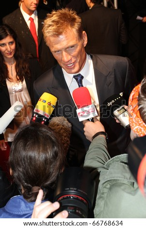BERLIN - AUGUST 06: Dolph Lundgren attends the Premiere of The Expendables. August 6, 2010 in Berlin, Germany. - stock photo