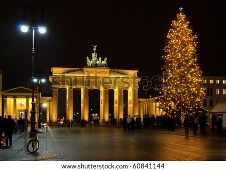 Berlin Brandenburg Gate christmas - stock photo