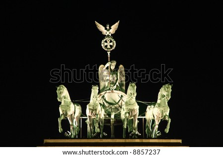 Berlin: Brandenburger Tor at Night - the statue of the four horses - stock photo