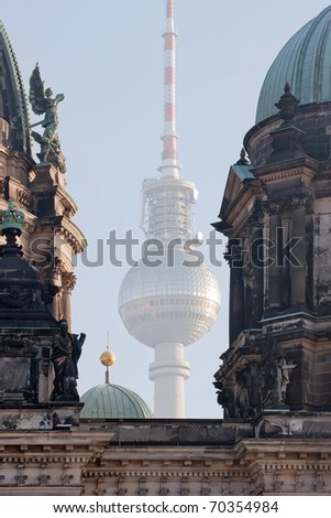 Berlin Cathedral and the Berlin Television Tower - Germany - stock photo