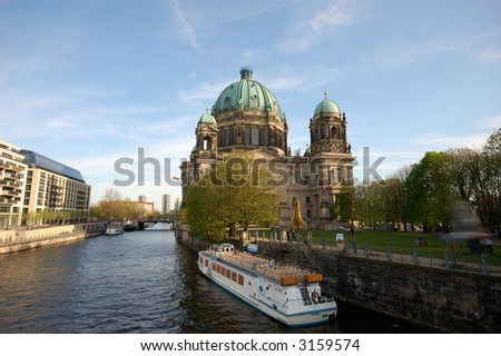 Berlin Cathedral and the River Spree in Berlin, Germany - stock photo