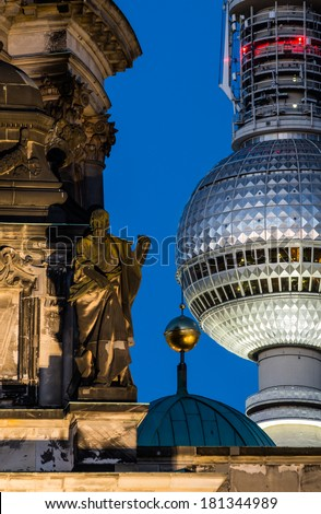 Berlin Cathedral and TV Tower - stock photo