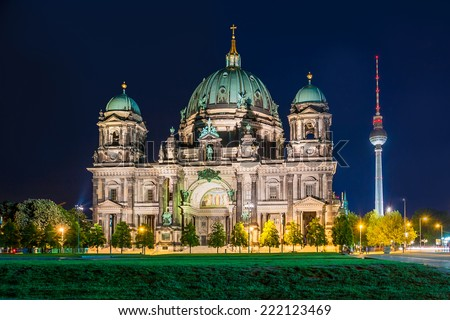 Berlin Cathedral at night (Berliner Dom), Berlin, Germany - stock photo