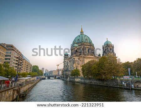 Berlin Cathedral (Berliner Dom) and the river Spree in the capital of Germany Berlin, Museum Island, Berlin Mitte, Europe, HDR - stock photo