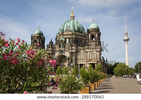 Berlin Cathedral (Berliner Dom)  and Tv tower - stock photo