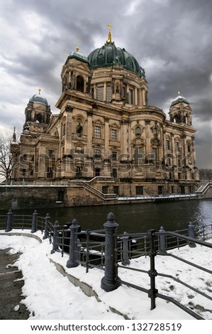Berlin Cathedral (Berliner Dom) on a gloomy winter day - stock photo