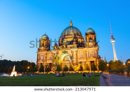 Berlin Cathedral church Berliner Dom and TV tower Fernsehturm in Berlin, Germany - stock photo