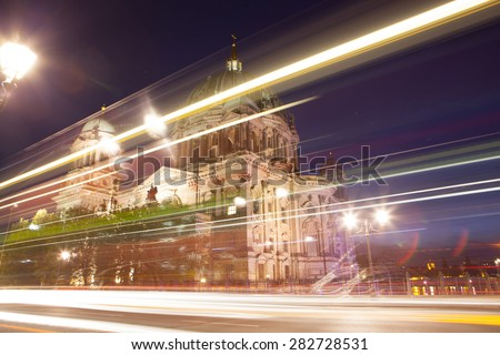Berlin Cathedral, or Berliner Dom, illuminated at night - stock photo