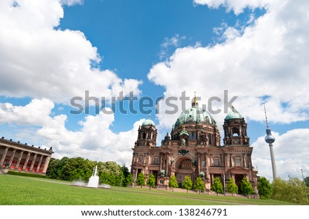 Berlin Cathedral, or Berliner Dom on a bright day in spring - stock photo