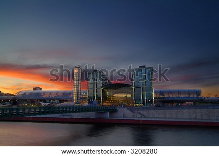 berlin central station at dawn - stock photo