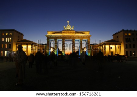 BERLIN - CIRCA OCTOBER 2011: the Brandenburg Gate (Brandenburger Tor), Pariser Platz, Berlin.