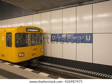 BERLIN - DECEMBER 24: A train platform at Berlin Hauptbahnhof on December 24, 2015 in Berlin, Germany. The Berlin Hauptbahnhof is the central and main railway station in Berlin, Germany. - stock photo