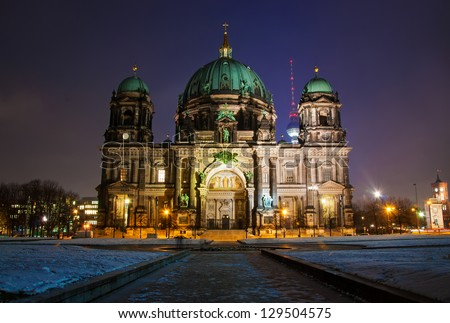 Berlin Dom by Night - stock photo