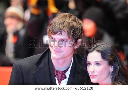 BERLIN - FEB 11: Demi Moore and Ashton Kutcher attends the premiere 'Happy Tears' of the 59th Berlin Film Festival at the Berlinale Palast. February 11, 2009 in Berlin. - stock photo