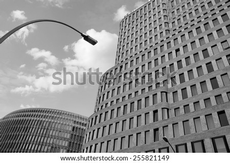 BERLIN - FEB 10: Modern high-tech architecture at the city centre in Berlin on February 10.2012 in Germany - Black and white  - stock photo