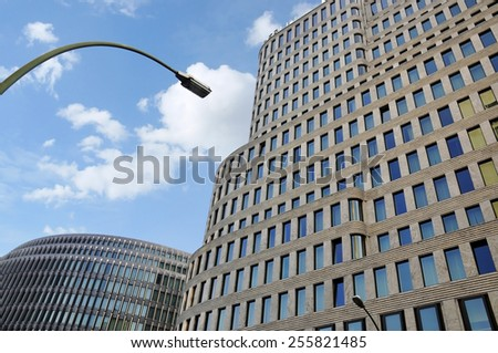 BERLIN - FEB 10: Modern high-tech architecture at the city centre in Berlin on February 10.2012 in Germany  - stock photo