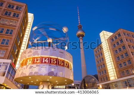 BERLIN - FEBRUARY 17: Berlin's Alexanderplatz, Weltzeituhr (World Time Clock), and TV Tower on February 17, 2016 in Berlin. Alexanderplatz is the central transportation hub of Berlin.
