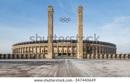 BERLIN, February 1, 2014: Exterior view of Berlin's Olympia Stadium, built for the 1936 Summer Olympics., in Berlin, Germany